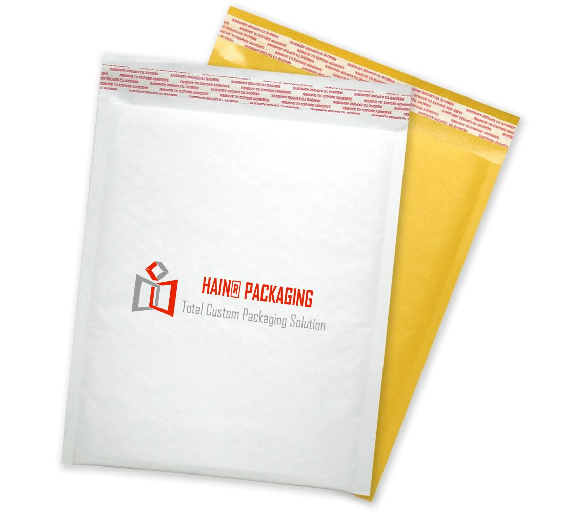 white bubble mailing bag